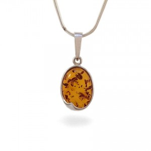 Amber pendant | Sterling silver | Height - 25mm, Width - 11mm | Weight - 1,5g | ZD.1007W