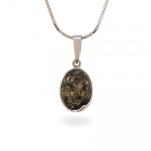 Amber pendant | Sterling silver | Height - 25mm, Width - 11mm | Weight - 1,5g | ZD.1007WG