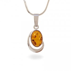 Amber pendant | Sterling silver | Height - 28mm, Width - 13mm | Weight - 2,1g | ZD.1017W