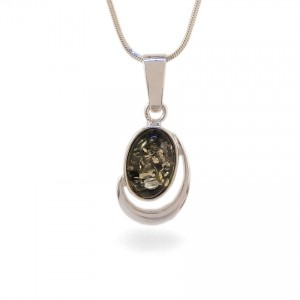 Amber pendant | Sterling silver | Height - 28mm, Width - 13mm | Weight - 2,1g | ZD.1017WG