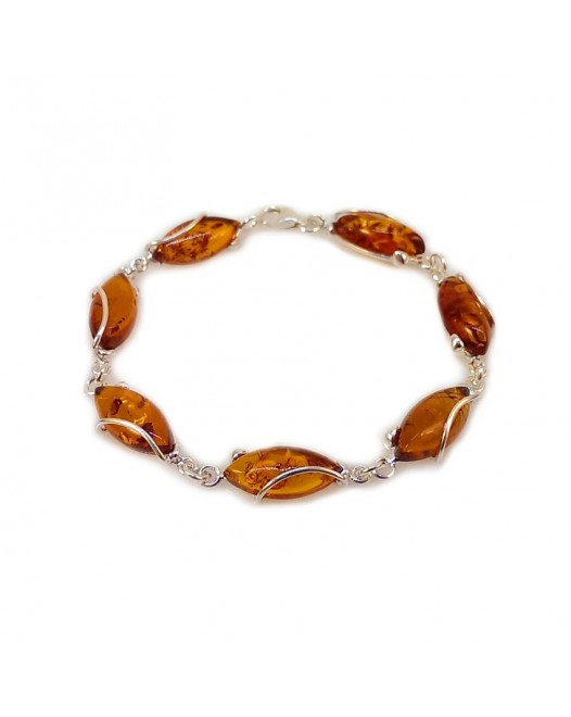 Amber bracelet | Sterling silver | Length - 205 to 208mm, Width - 9mm | Weight - 10,2g | ZD.1030