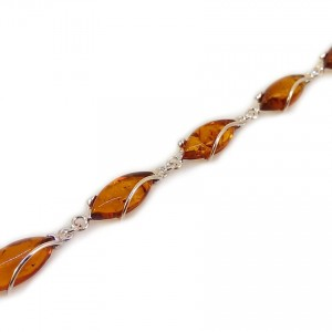 Amber bracelet   Sterling silver   Length - 20,5 to 23,5 cm, Width - 9mm   Weight - 10,2g   ZD.1030