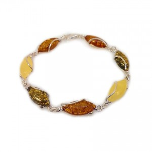 Amber bracelet   Sterling silver   Length - 20,5 to 23,5 cm, Width - 9mm   Weight - 10,2g   ZD.1030M