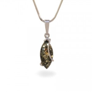 Amber pendant | Sterling silver | Height - 30mm, Width - 9mm | Weight - 1,6g | ZD.1030WG