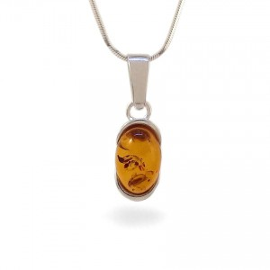 Amber pendant | Sterling silver | Height - 25mm, Width - 8mm | Weight - 1,7g | ZD.1034W