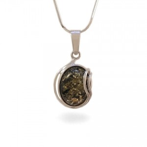 Amber pendant | Sterling silver | Height - 31mm, Width - 16mm | Weight - 2,7g | ZD.962WG