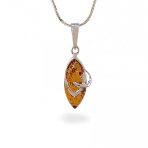 Amber pendant | Sterling silver | Height - 30mm, Width - 10mm | Weight - 1,5g | ZD.1068W