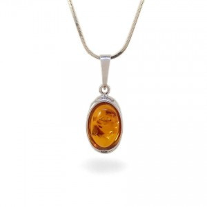 Amber pendant | Sterling silver | Height - 26mm, Width - 10mm | Weight - 1,5g | ZD.1070W