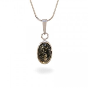 Amber pendant | Sterling silver | Height - 26mm, Width - 10mm | Weight - 1,5g | ZD.1070WG