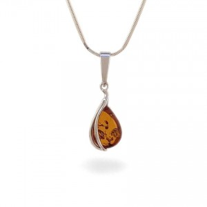 Amber pendant | Sterling silver | Height - 26mm, Width - 9mm | Weight - 1g | ZD.1088W