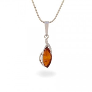 Amber pendant | Sterling silver | Height - 28mm, Width - 8mm | Weight - 1,1g | ZD.1092W