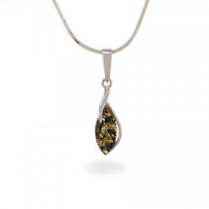 Amber pendant | Sterling silver | Height - 28mm, Width - 8mm | Weight - 1,1g | ZD.1092WG