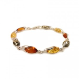 Amber bracelet | Sterling silver | Length - 187mm, Width - 6mm | Weight - 7.9g | ZD.1093BM