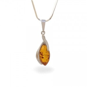 Amber pendant | Sterling silver | Height - 33mm, Width - 10mm | Weight - 1,6g | ZD.1095W
