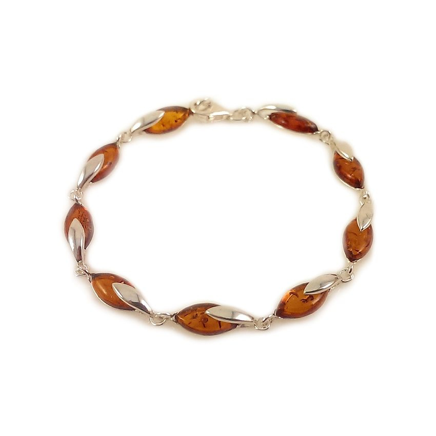 Amber bracelet   Sterling silver   Length - 19,5 to 22,5 cm, Width - 6mm   Weight - 7.9g   ZD.1099B