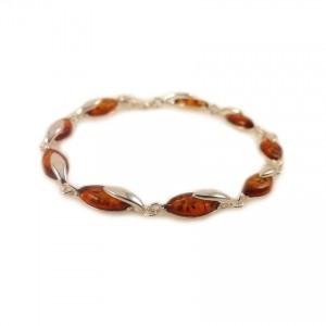 Amber bracelet | Sterling silver | Length - 195mm, Width - 6mm | Weight - 7.9g | ZD.1099B