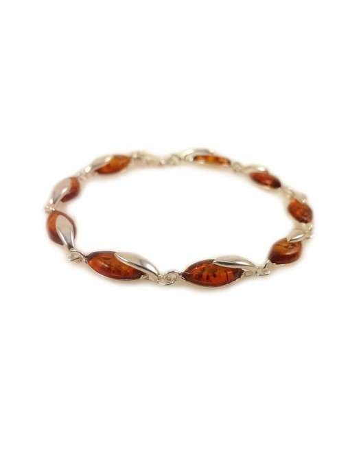 Amber bracelet | Sterling silver | Length - 195 to 198mm, Width - 6mm | Weight - 7.9g | ZD.1099B