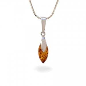 Amber pendant | Sterling silver | Height - 25mm, Width - 6mm | Weight - 1,1g | ZD.1099W