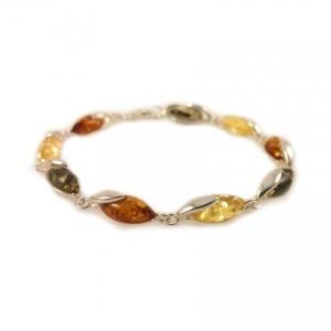 Amber bracelet   Sterling silver   Length - 19,5 to 22,5 cm, Width - 6mm   Weight - 7.9g   ZD.1099BM