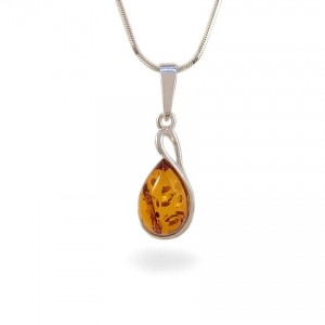 Amber pendant | Sterling silver | Height - 27mm, Width - 10mm | Weight - 1,7g | ZD.1113W
