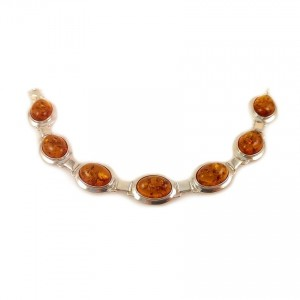 Amber bracelet | Sterling silver | Length - 18,7 to 21,7 cm, Width - 8mm | Weight - 14,4g | ZD.318