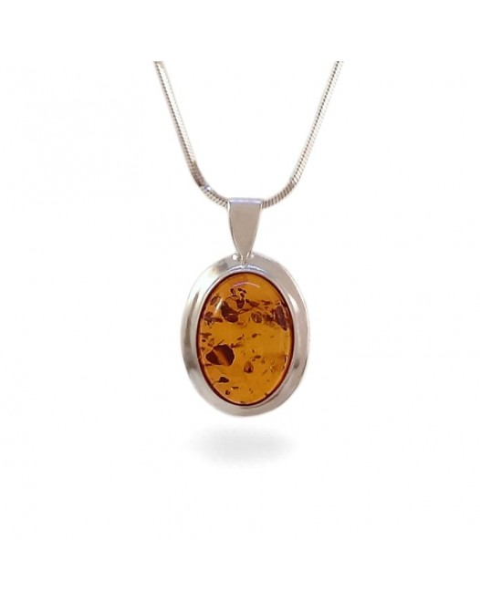 Amber pendant | Sterling silver | Height - 24mm, Width - 14mm | Weight - 1,7g | ZD.342W