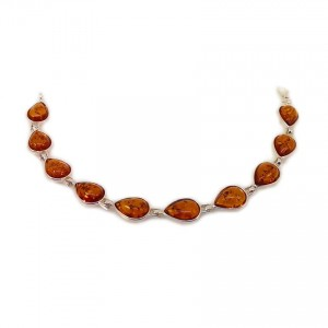 Amber bracelet | Sterling silver | Length - 18,7 to 21,7 cm, Width - 9mm | Weight - 8,8g | ZD.680