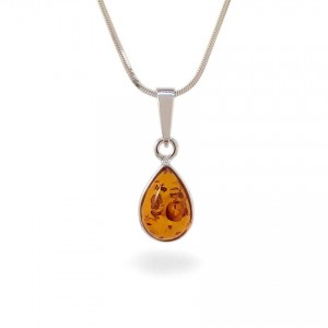 Amber pendant | Sterling silver | Height - 24mm, Width - 9mm | Weight - 1,1g | ZD.681