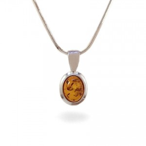 Amber pendant | Sterling silver | Height - 17mm, Width - 9mm | Weight - 0,9g | ZD.359W
