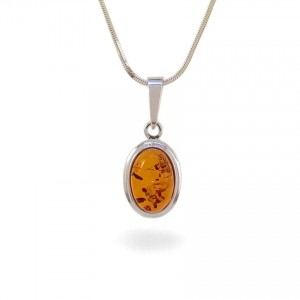Amber pendant   Sterling silver   Height - 25mm, Width - 11mm   Weight - 1,5g   ZD.829W