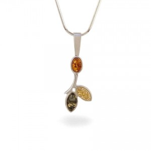 Amber pendant | Sterling silver | Height - 33mm, Width - 12mm | Weight - 1,6g | ZD.839W