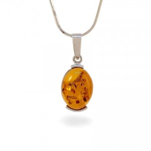 Amber pendant | Sterling silver | Height - 29mm, Width - 12mm | Weight - 3,5g | ZD.977W