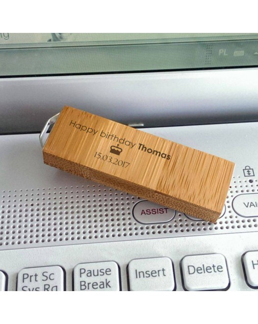 Engraved USB flash drive | USB 3.0 16GB | Bamboo wood | Silver-plated Pendant | Available in 10 fonts nad Ikons