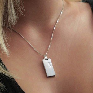 Jewelry USB Flash Drive   USB 2.0 16GB   Sterling Silver   3 Swarovski crystal   Silver chain   Available in 10 fonts nad Ikons