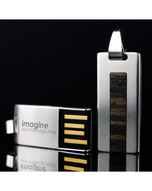 Engraved Flash Drive | USB 2.0 32GB | Sterling Silver | Teak wood | Available in 10 fonts nad Ikons