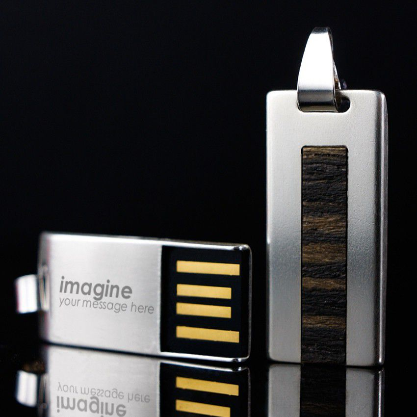 Engraved Flash Drive   USB 2.0 32GB   Sterling Silver   Teak wood   Available in 10 fonts nad Ikons