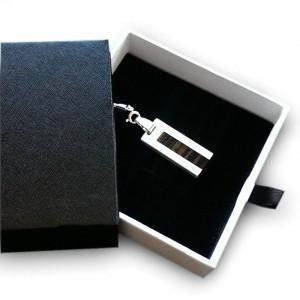 Mini USB Flash Drive | USB 2.0 16GB | Sterling Silver | Teak wood | Available in 10 fonts nad Ikons