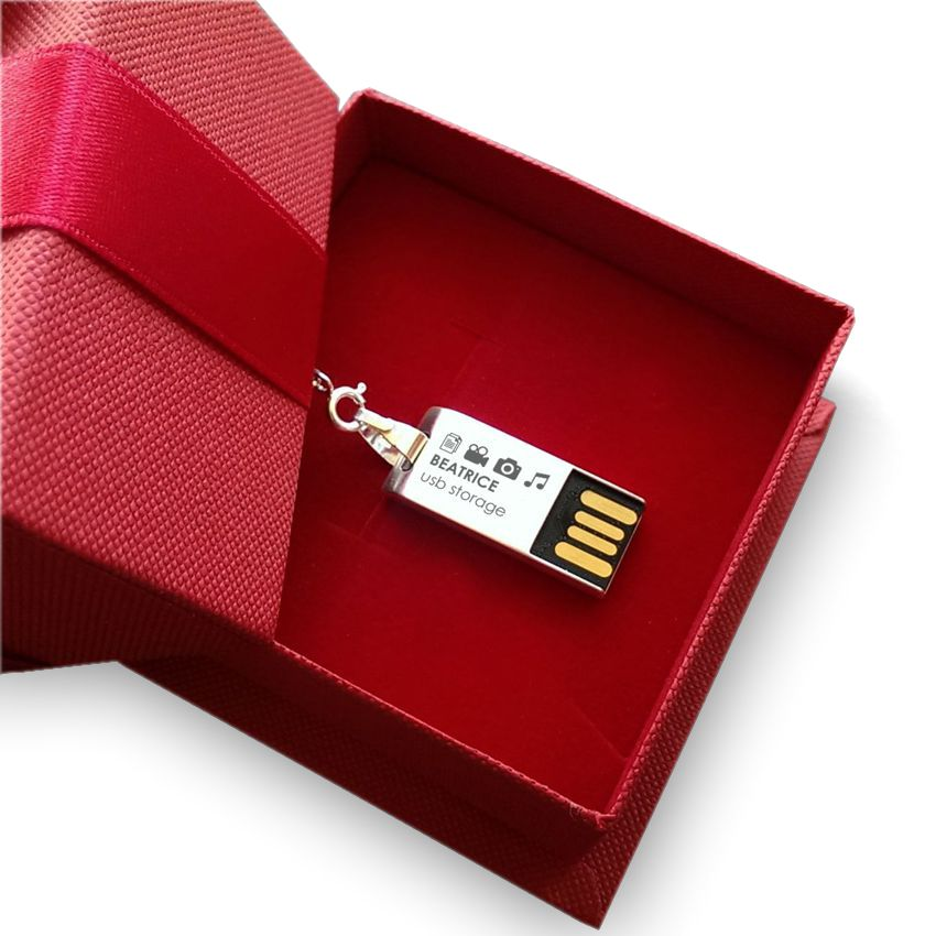 Jewelry USB Flash Drive | USB 2.0 32GB | Sterling Silver | 55 Swarovski crystal | Silver chain | Available in 10 fonts nad Ikons