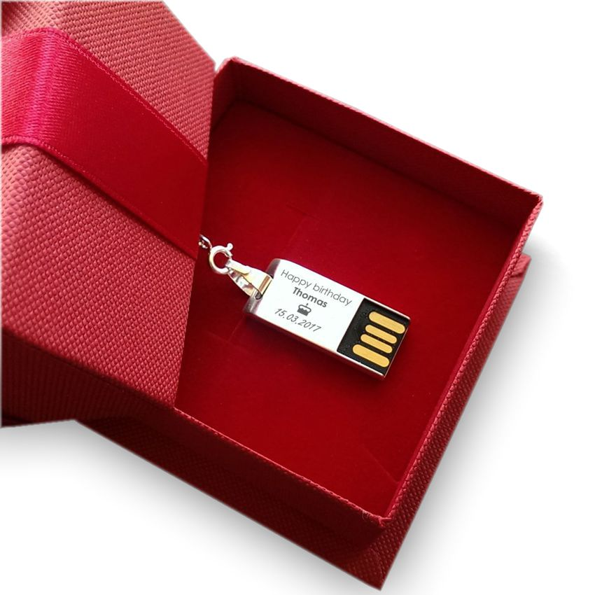 Engraved Flash Drive | USB 2.0 32GB | Sterling Silver | Wenge wood | Available in 10 fonts nad Ikons