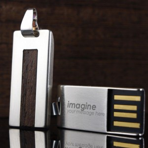 Custom USB Flash Drive | USB 2.0 16GB | Sterling Silver | Wenge wood | Available in 10 fonts nad Ikons