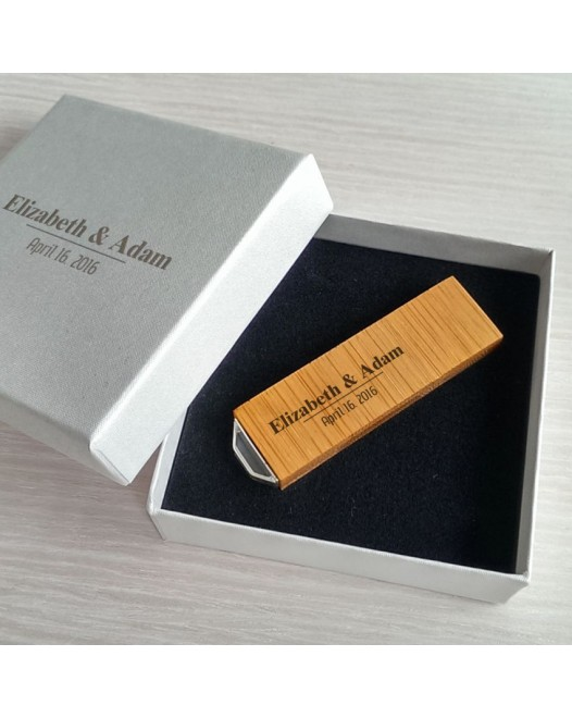 Wedding USB flash drive | USB 3.0 16GB | Bamboo wood | Silver-plated Pendant | With engraving on flash drive & packaging