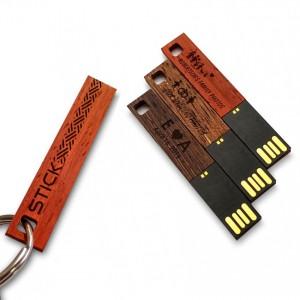 Original USB Flash Drive | USB 2.0 8GB | Wenge, Merbau or Mahogany wood | Available in 10 fonts nad Ikons