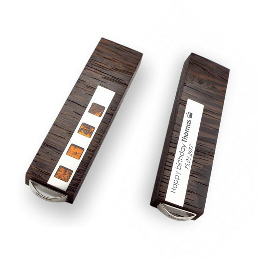 Engraved USB Stick   USB 3.0 32GB   Sterling Silver   Baltick Amber   Ash or Mahogany wood   Available in 10 fonts nad Ikons