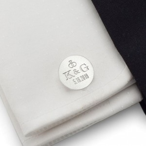 Groom cufflinks | With initials and wedding date | Sterling silver | ZD.139
