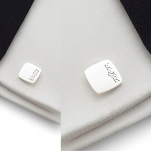 Groom cufflinks | With initials and wedding date | Available in 10 fonts | Sterling silver | ZD.190