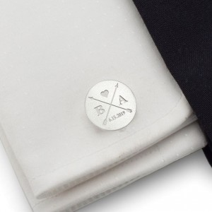 Arrow silver cufflinks | With initials and wedding date | Sterling sillver | ZD.171