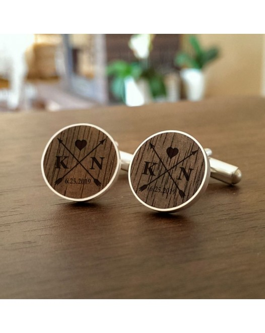 Arrow silver cufflinks | With initials and wedding date | Sterling sillver | American Walnut | ZD.55-5