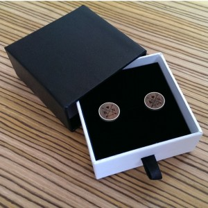 Arrow silver cufflinks | With initials and wedding date | Sterling silver | American Walnut | ZD.55-5