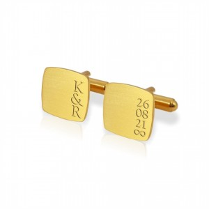 Custom Gold Cufflinks | With initials and wedding date | Sterling silver gold plated | ZD.190Gold