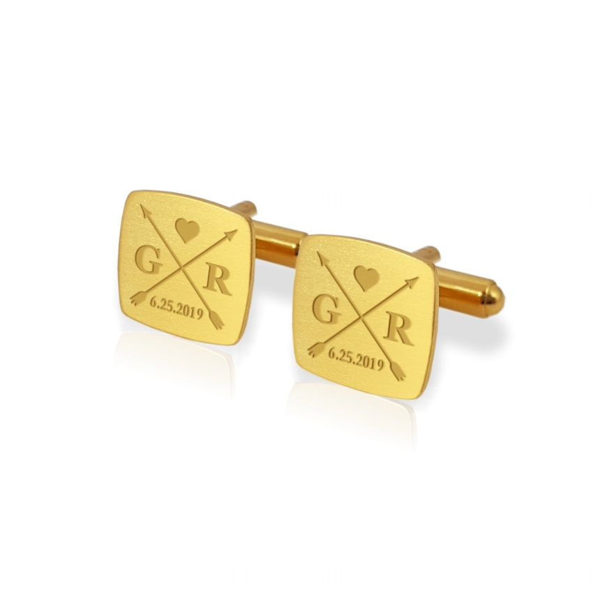 Gold wedding arrow cufflinks | With initials and wedding date | Sterling silver gold plated | ZD.170Gold